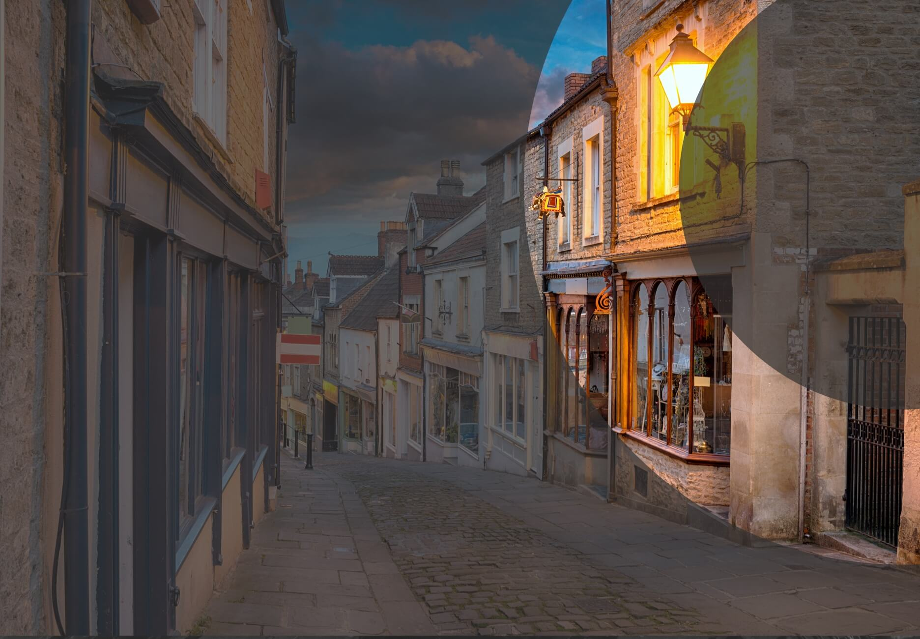 An empty town high street at dusk