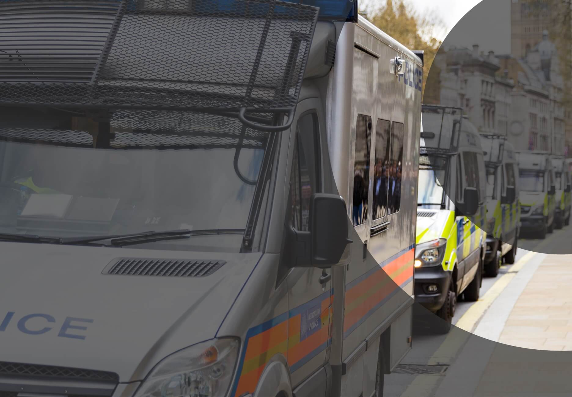 Police vans in London